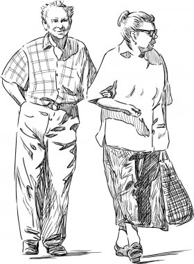 elderly couple strolling