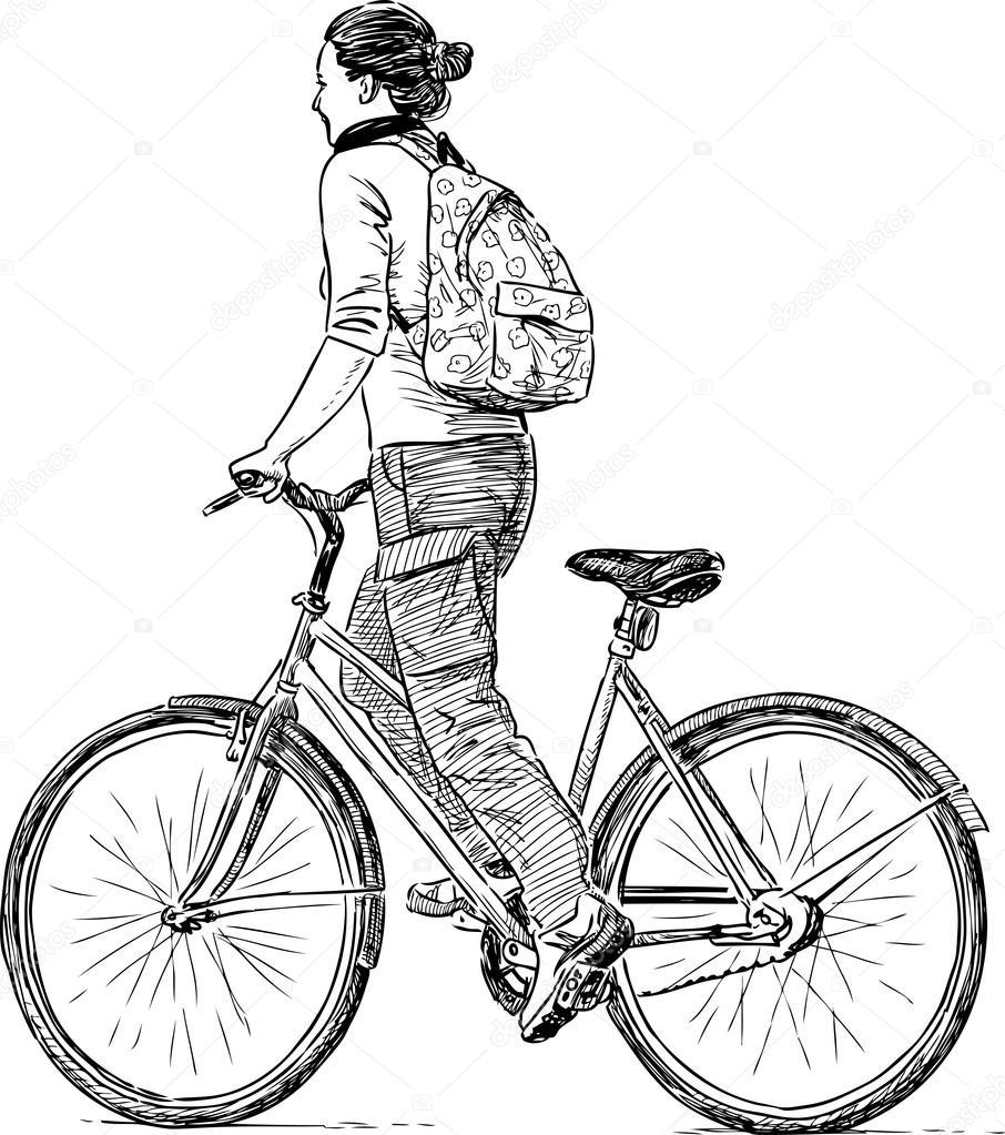 Girl Rides A Bicycle Stock Vector Samakarov At Mailru 94511870