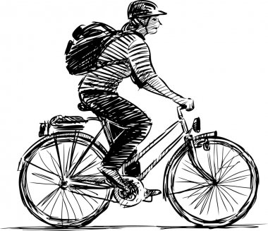 sketch of a girl cyclist