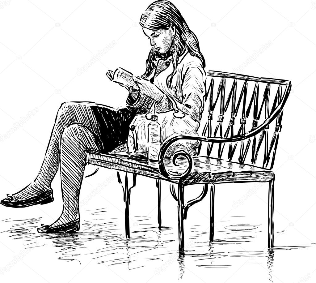 Girl Reading On A Park Bench Stock Vector Samakarov At Mailru