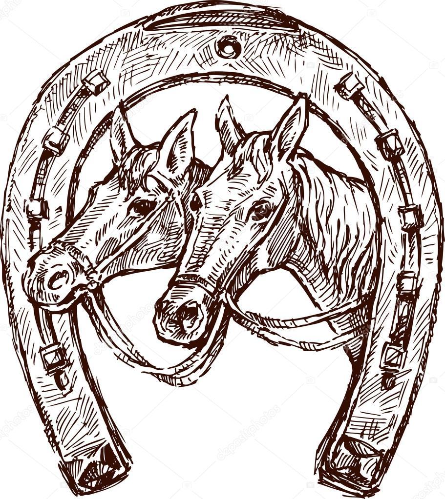 Herradura con caballos cabezas — Vector de stock © samakarov@mail.ru ...
