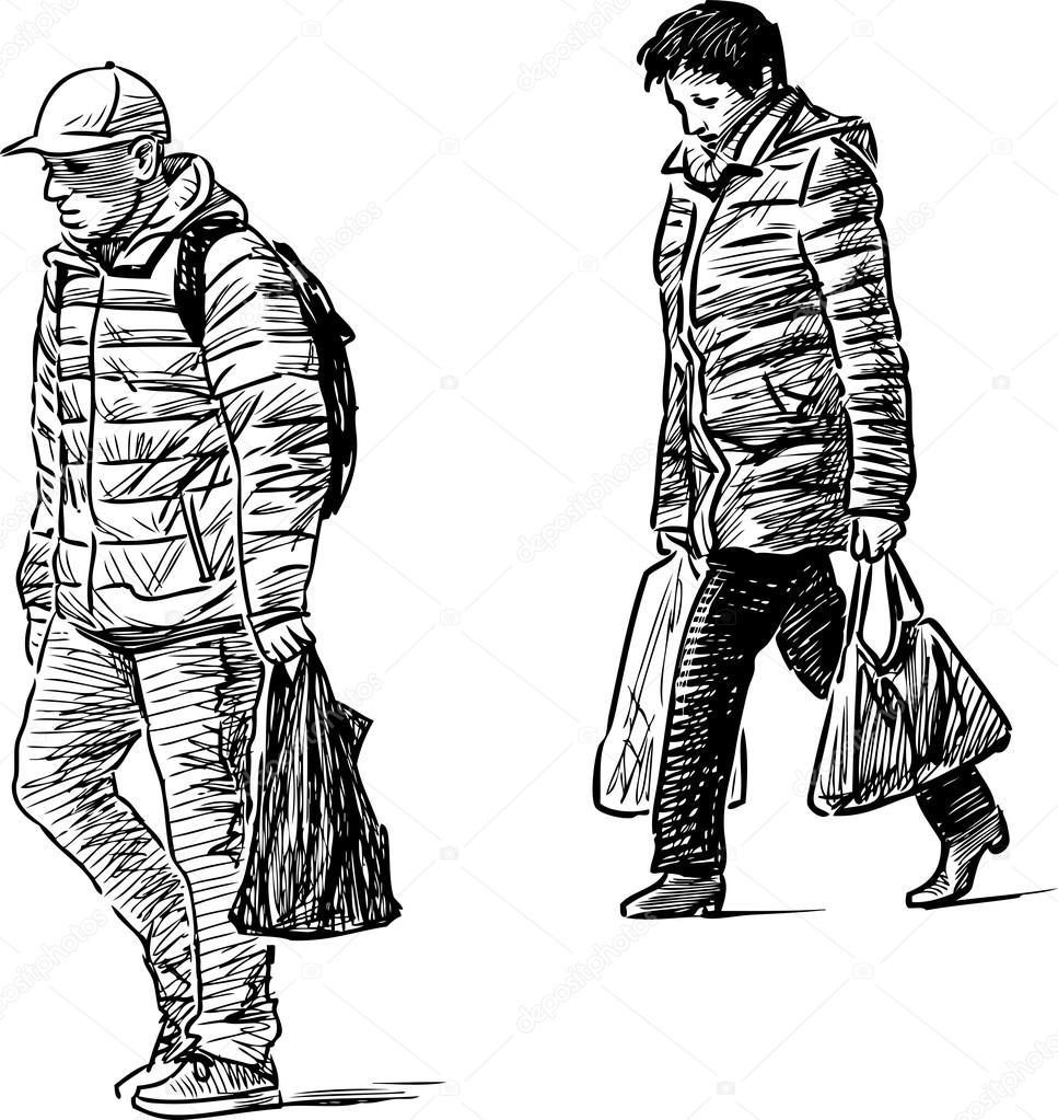 Skizzieren Sie lässig Stadtbewohner — Stockvektor © samakarov@mail ...