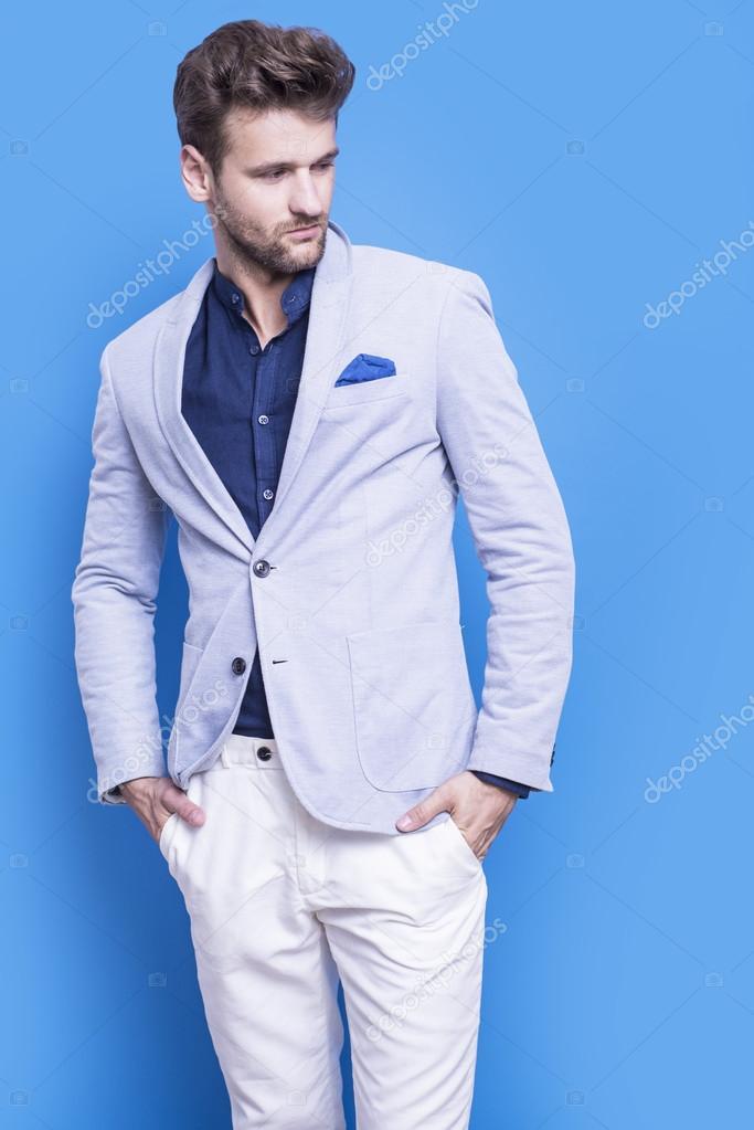 — Blu Stock Una Foto Bello In Camicia Giacca Scuro E Uomo q68ZTn
