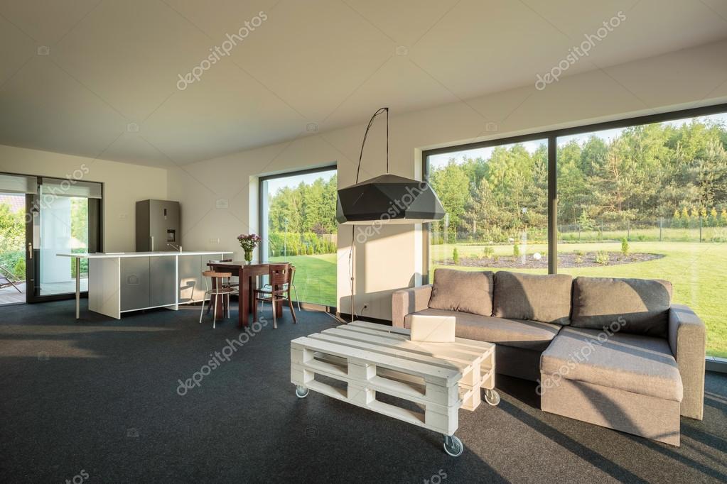 Idea di cucina-soggiorno camera combinata — Foto Stock © in4mal ...