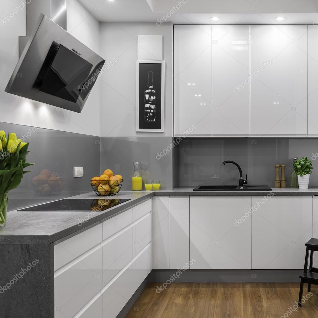 Cozinha branca e cinza fotografias de stock in4mal for Cocinas modernas blancas y grises