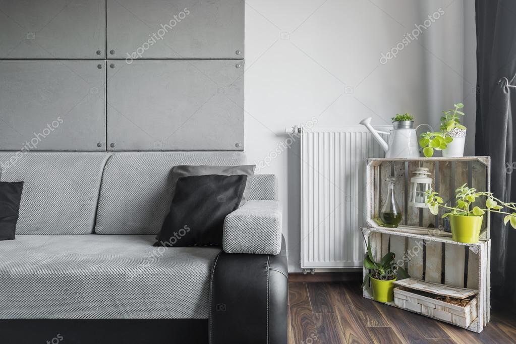 Creatieve Interieur Inrichting : Grijs woonkamer met creatieve inrichting u stockfoto in mal
