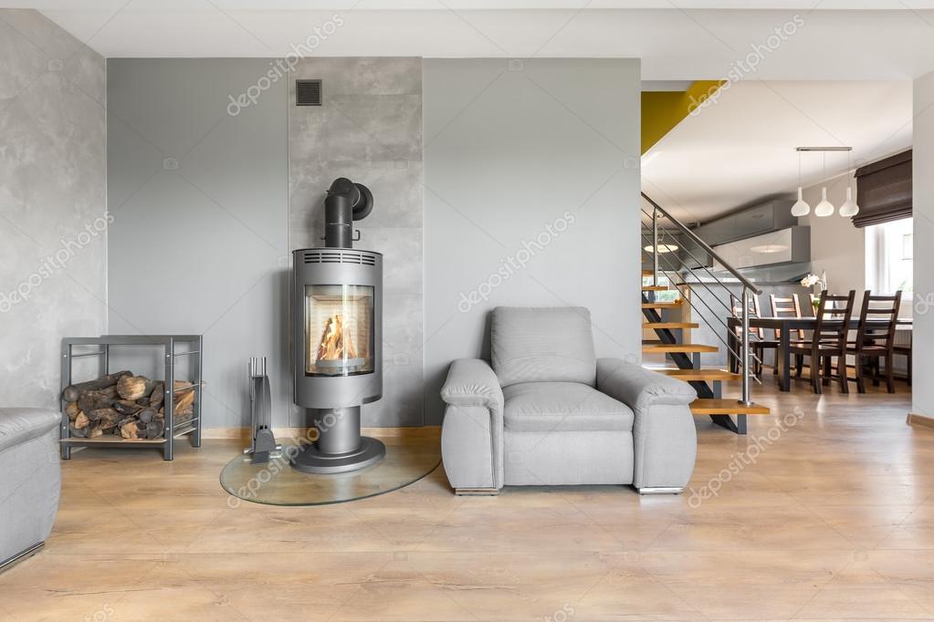 Moderne villa interieur mit kamin idee u2014 stockfoto © in4mal #119502042