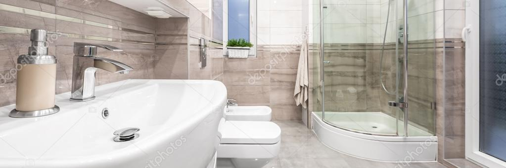 Stylish Bathroom With Classical Details Stock Photo In4mal