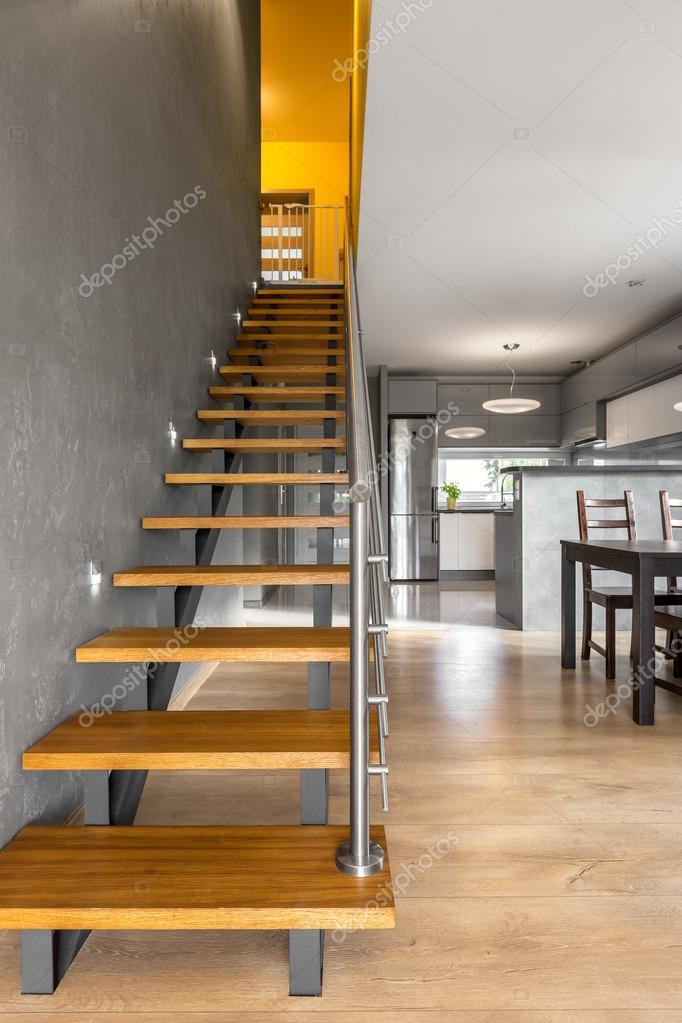 Functionele trap in moderne villa interieur idee — Stockfoto ...