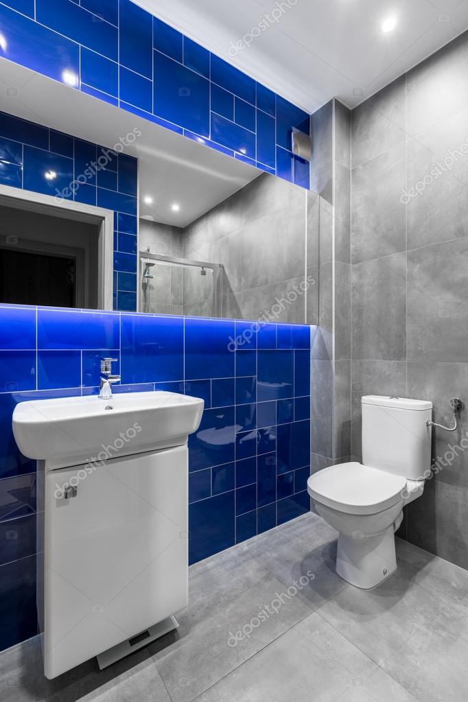 Badezimmer In Grau Und Blau U2014 Stockfoto