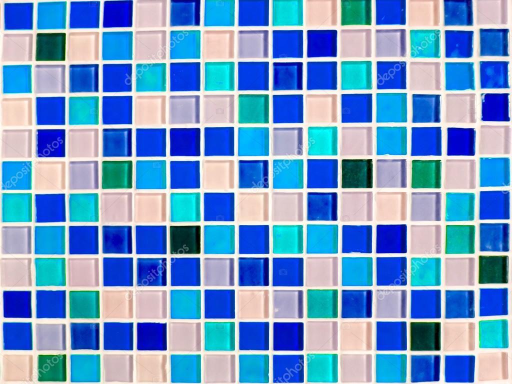 mosaic wall tile blue purple tone color closeup — Stock Photo ...