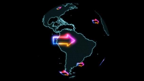 Világ térkép színes nyilak forognak jobbra vagy keletre, nyíl ugyanabban az irányban