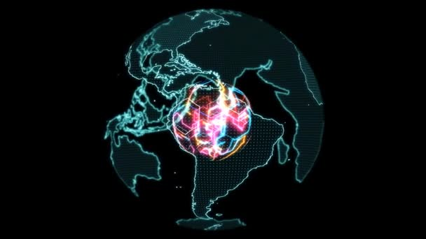 Világ térkép digitális techonlogy kis pont labda mag erős színes energia