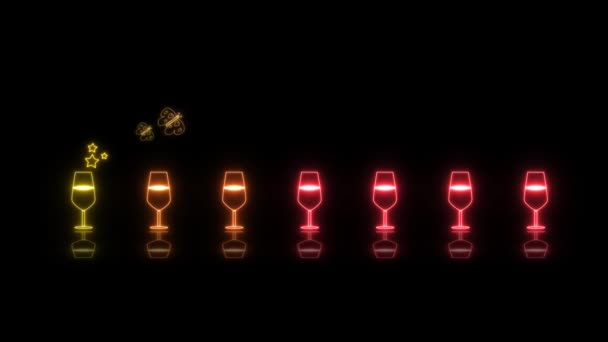 színes kis pezsgő üveg fény neon jel elemek vicces tánc hurok visszaverődés és két pillangó eszik szivárvány bor fekete képernyőn