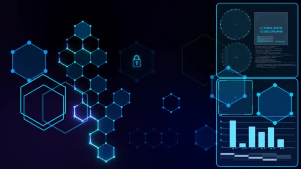 Futuristic digital smart locked abstract cyber security connection system with integrated hexagon with padlock and keyhole icon and analysis graph radar on right