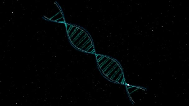 DNA structure thin science biotechnology abstract animation 3D rotate and cell particles moving around