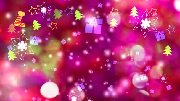 Dárek box a sněhová vločka květina a šest hvězd šest trn křídlo padá na červenou obrazovku, led prach částice prvek pro vánoční festival růže rozmazané pozadí
