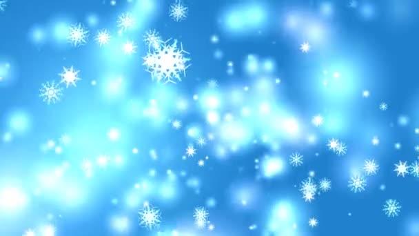 hópehely nyolc és hat csillag hat ág tövis szárny alá fekete képernyőn, jégpor részecskék elem karácsonyi fesztivál kék háttér