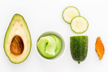 Natural ingredient for skincare and scrub with cucumber, avocado