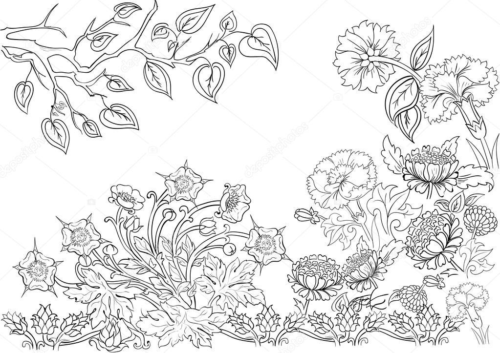 Hand gezeichnete Freihandeingaben Muster. Färbung passende Färbung ...