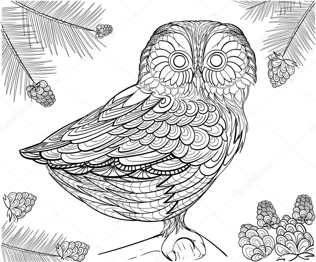 Elle çizilmiş Mürekkep Desen Boyama Için Yetişkin Baykuş Boyama