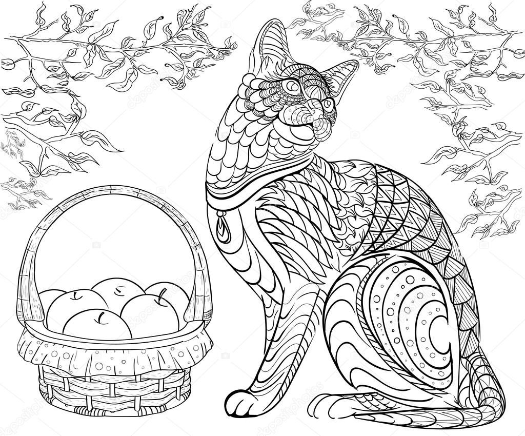 Hand Drawn Ink Pattern Coloring Book Coloring For Adult Cat