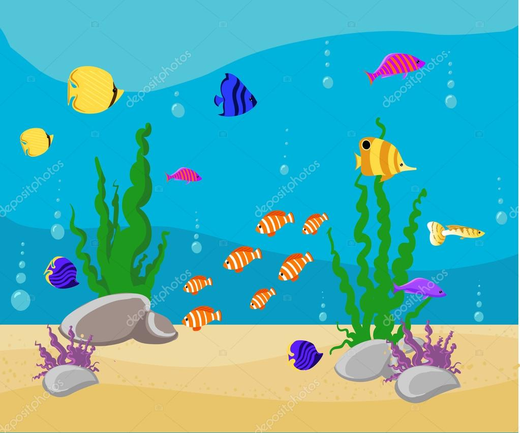 Ocean Cartoon Underwater World With Fish Plants Island