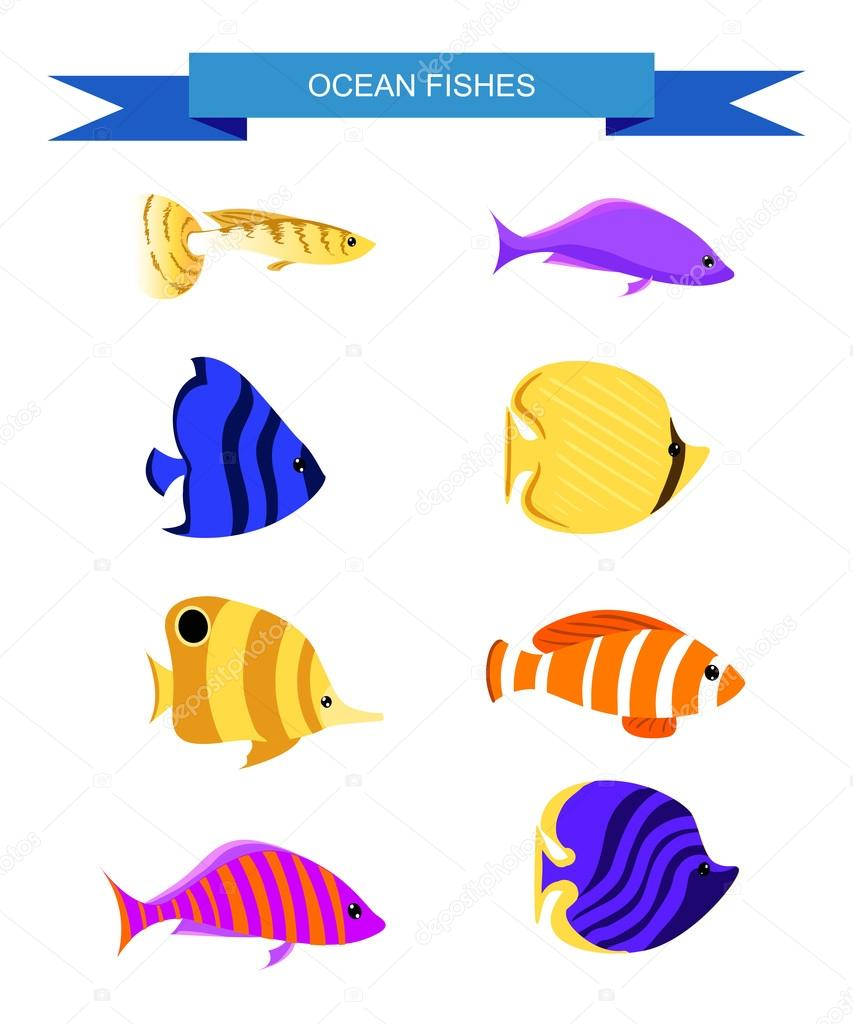 Ocean Cartoon underwater world with fish, plants, island Aquarium Fish set