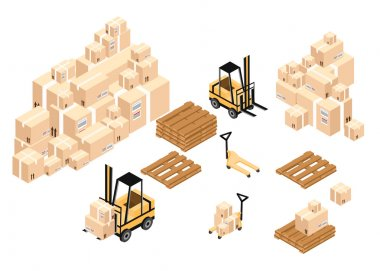 Vector isometric warehouse icon. Warehouse load boxes and barrels to stacks using forklifts.