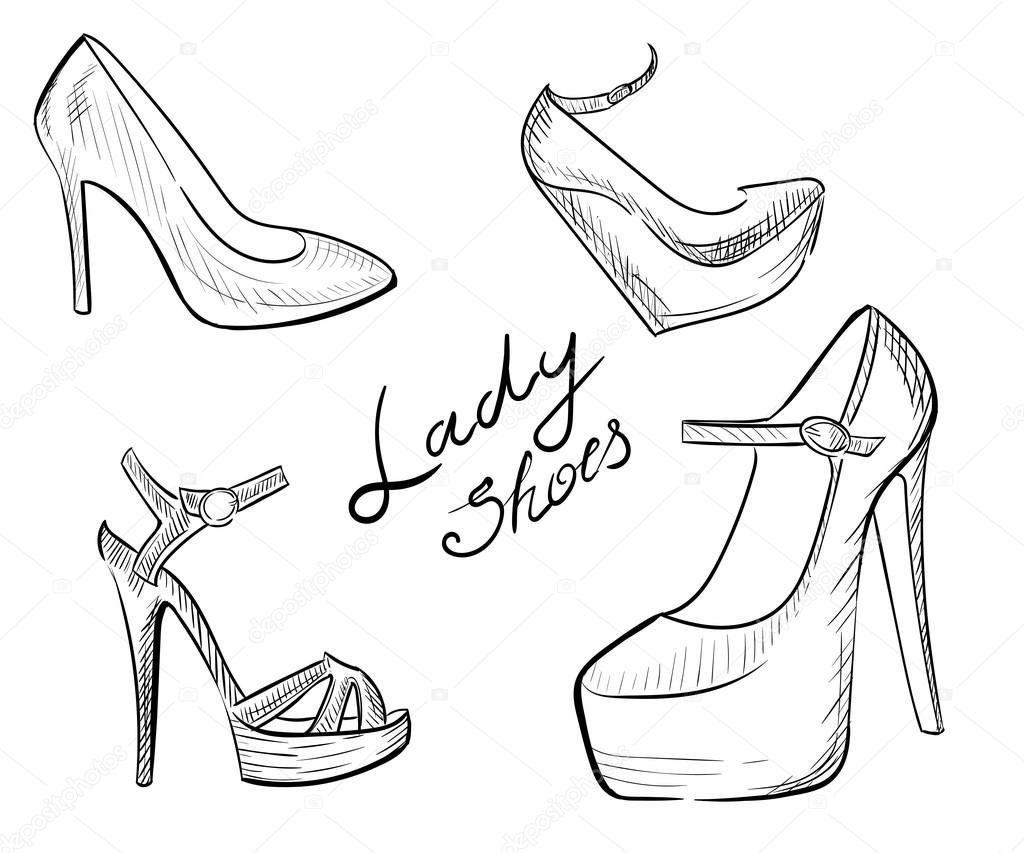 Lady Shoes Sketched Woman S Shoe Vector Illustration Collection Of