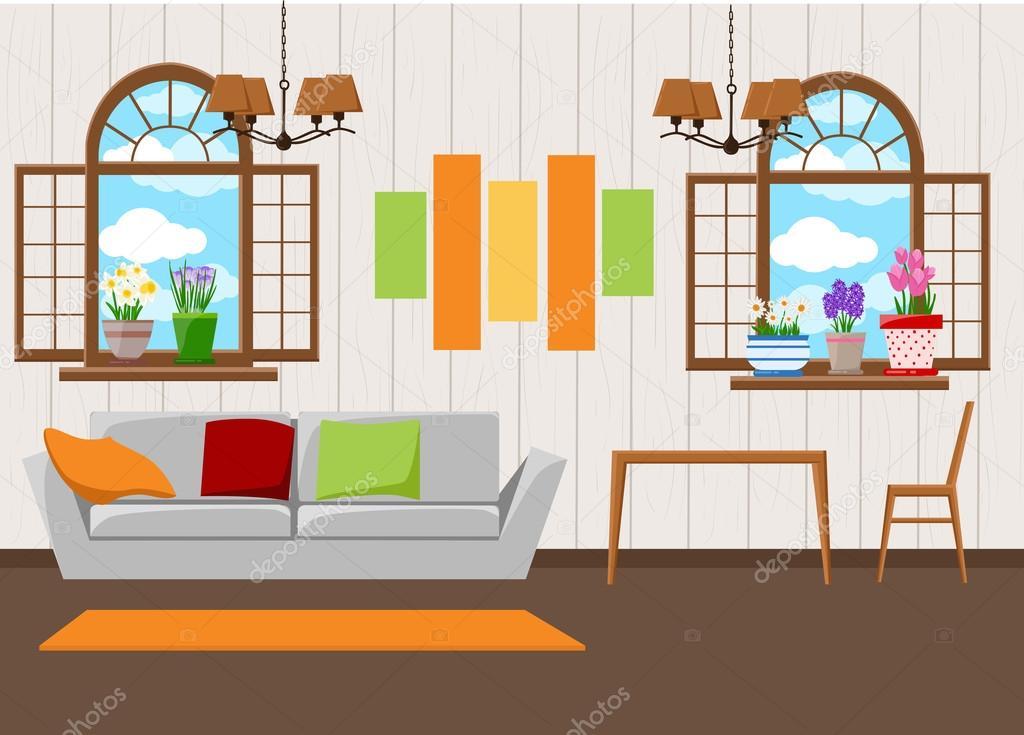 Schöne Design Elemente, Vektor Illustration Der Wohnzimmer Möbel In Der  Mitte Des Jahrhunderts Modernen Stil U2014 Vektor Von Alfadanz.stock.gmail.com