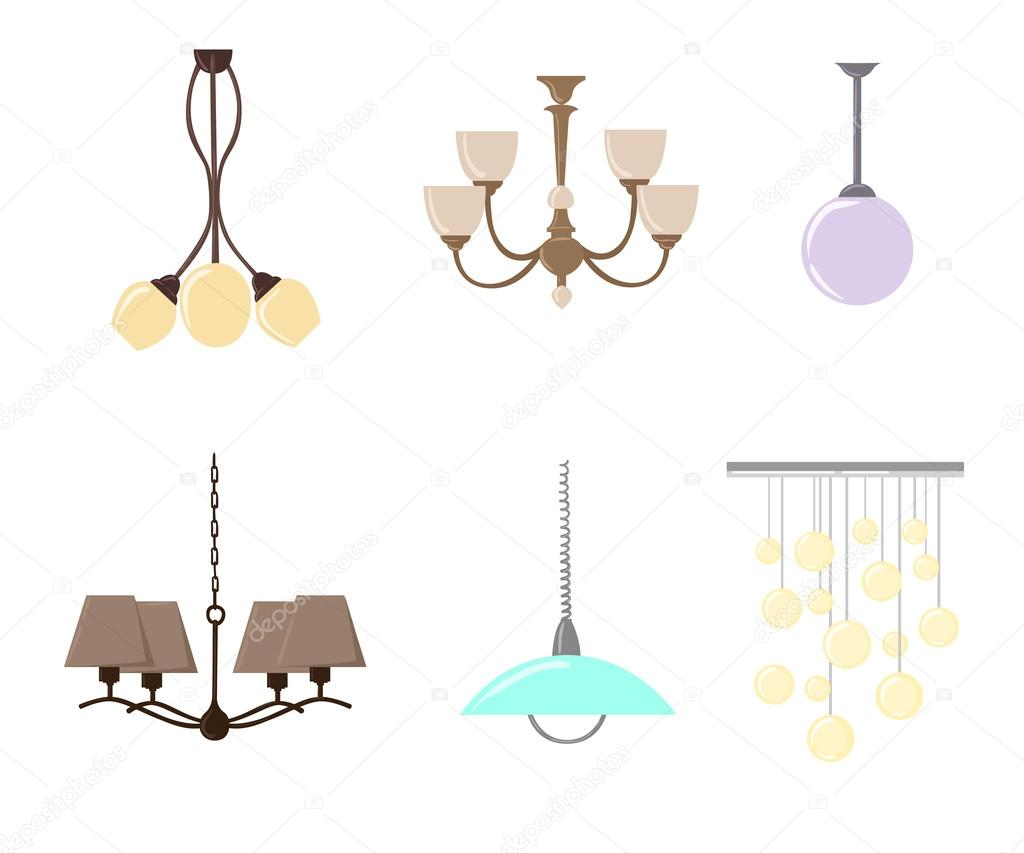 Chandelier silhouette isolated on White background. Set of ...