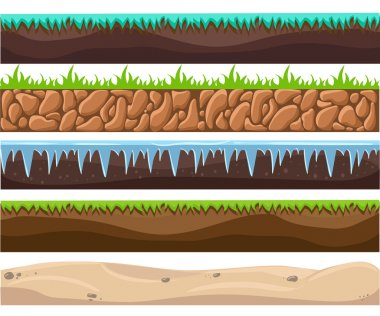 Illustration of a set of seamless grounds, soils and land foreground area with ice, desert, beach, sand, roots and grass layers and patterns for ui game. Seamless grounds, soils and land vector set.