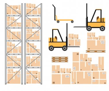 Warehouse load boxes and barrels to stacks using forklifts.