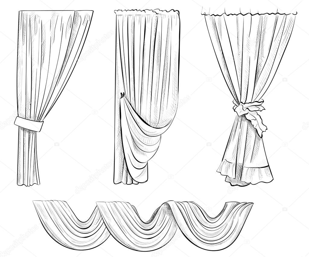 Sketch design curtains windows. Background for use in design, web ...