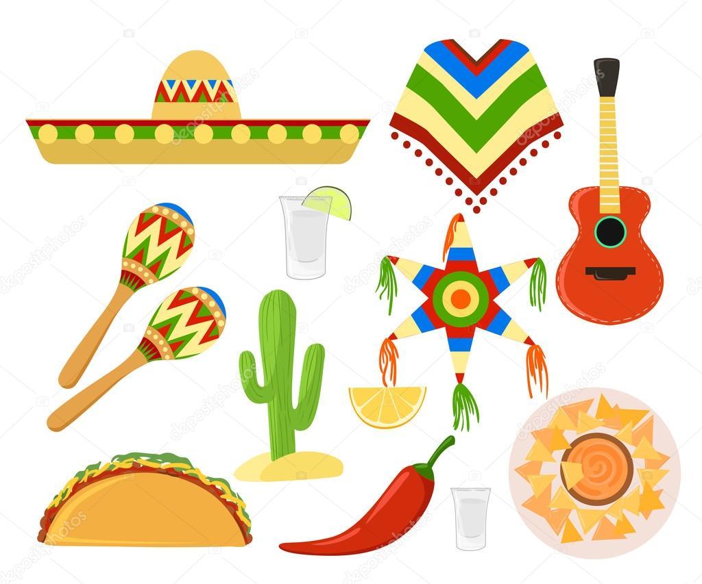Mexico set cinco de mayo Sombrero, maracas and jalapeno