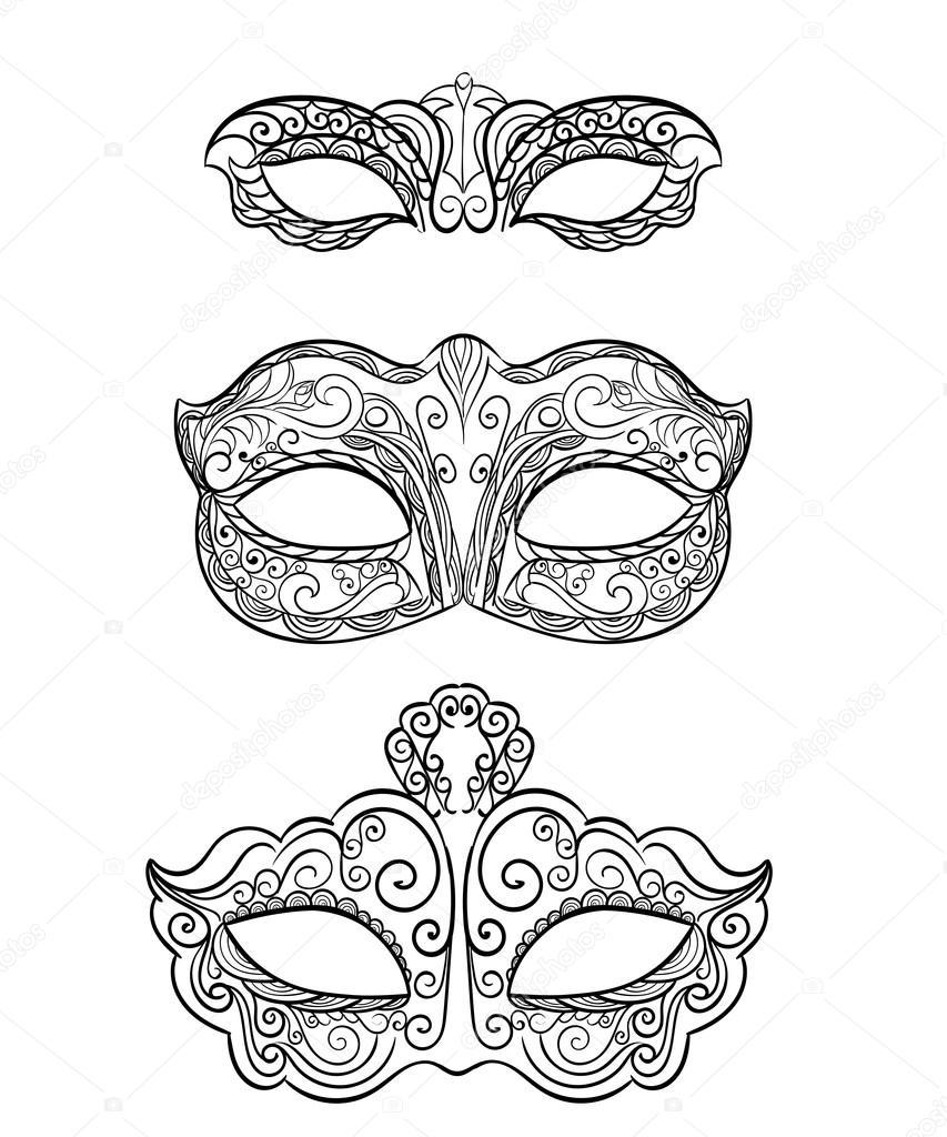 Black and white masquerade masks clip art