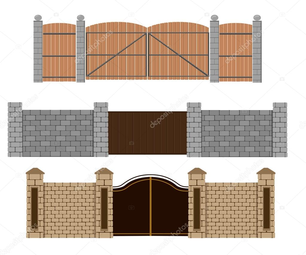Fence Vector Illustration Brick Fence And Wood Fence Different
