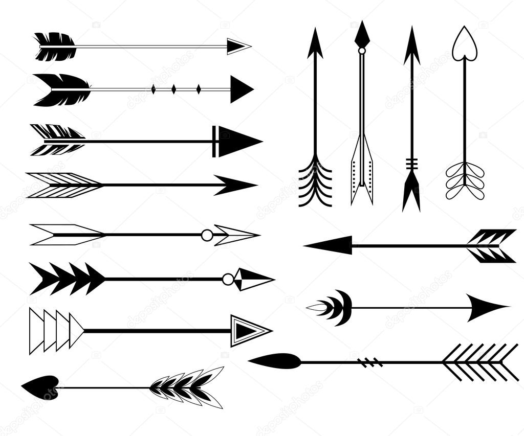 arrow clip art set in vector on white background hand drawn vintage