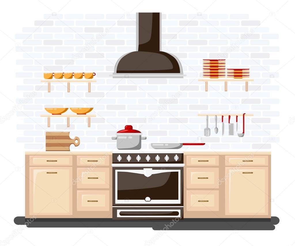 Küche mit Möbel-Flat Style-Vektor-Illustration. Cartoon-Stil für Web ...