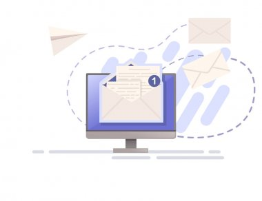 Illustration of sending mail or email with paper envelope and monitor vector illustration on white background. icon