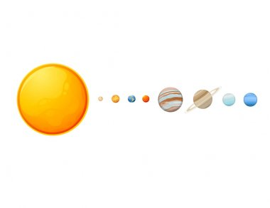 Solar system with sun and planets space objects vector illustration on white background
