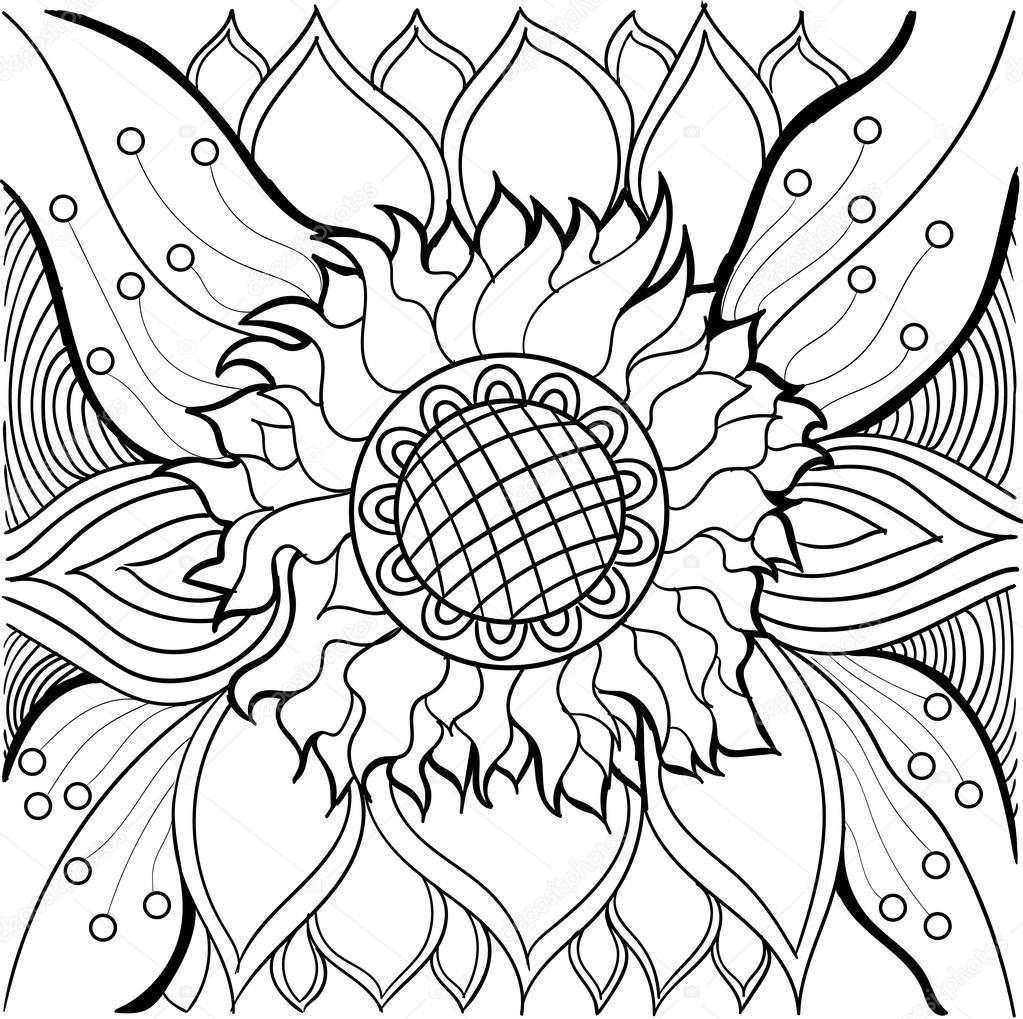colorear con un girasol y los patrones — Vector de stock © alfadanz ...