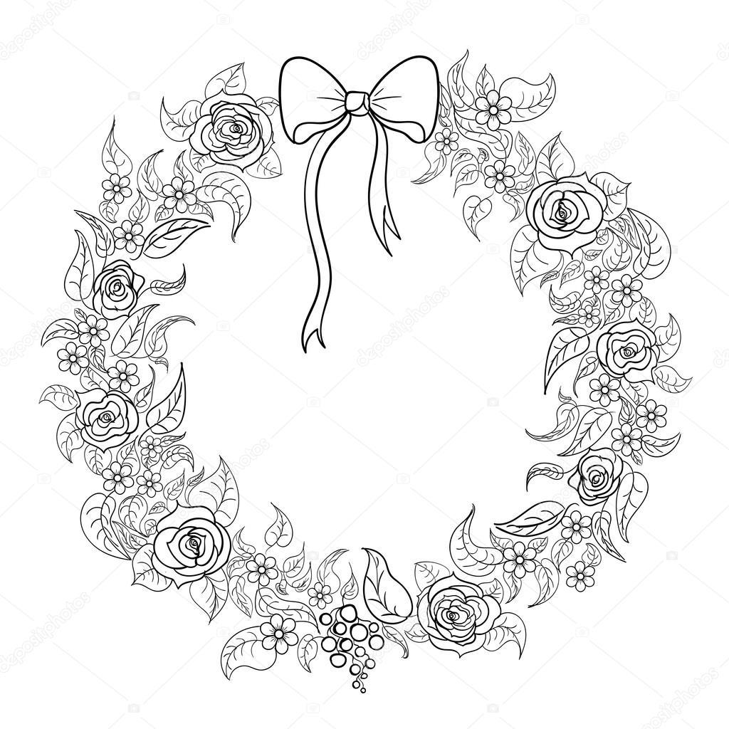 colorear una guirnalda con flores — Archivo Imágenes Vectoriales