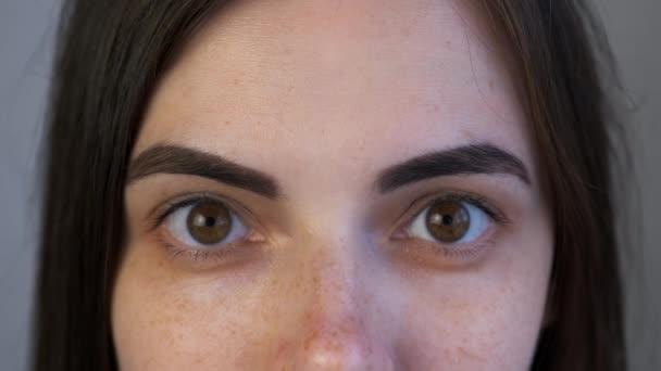 Nahaufnahme von Frauenaugen mit Augenbrauen nach dem Malvorgang im Schönheitssalon.