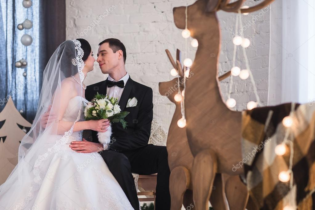 Married By Christmas.Couple Married On Christmas Eve Stock Photo