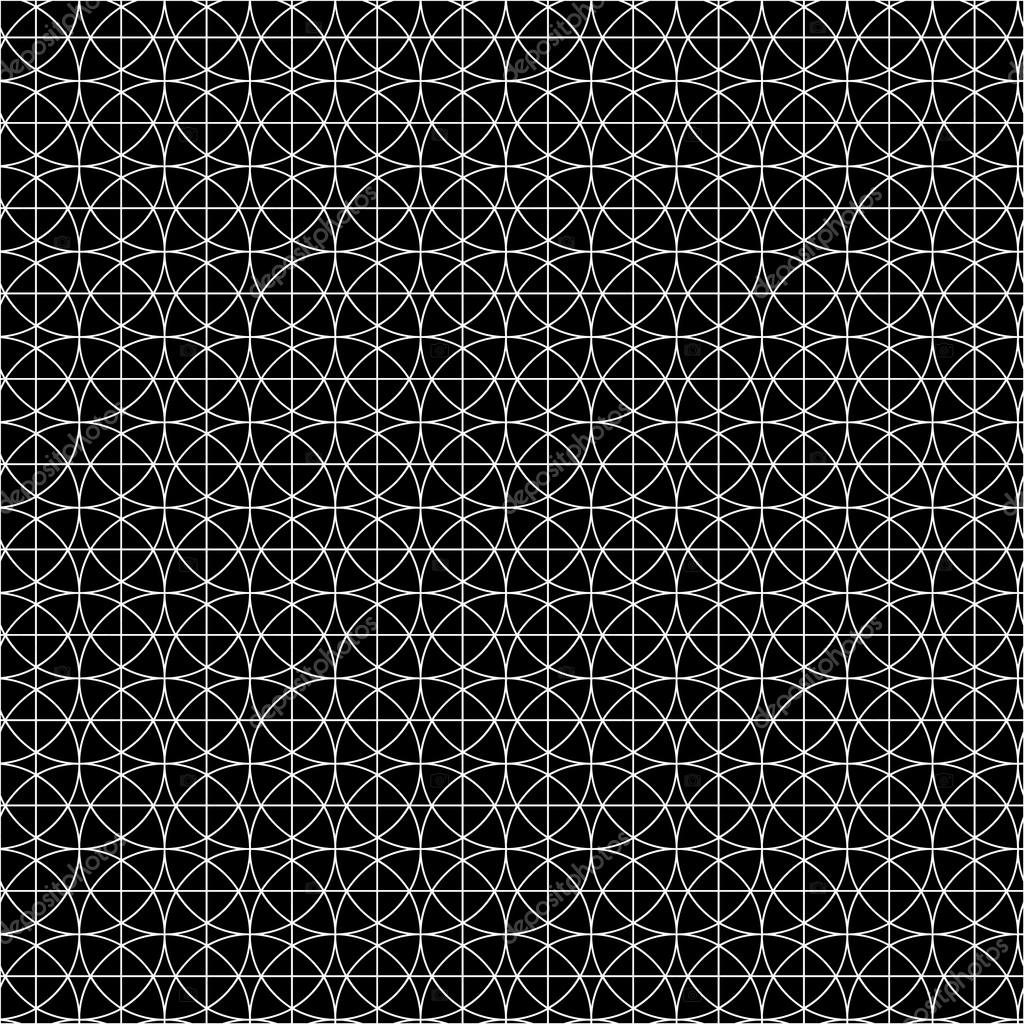Black And White Geometric Pattern Of Intersecting Circles