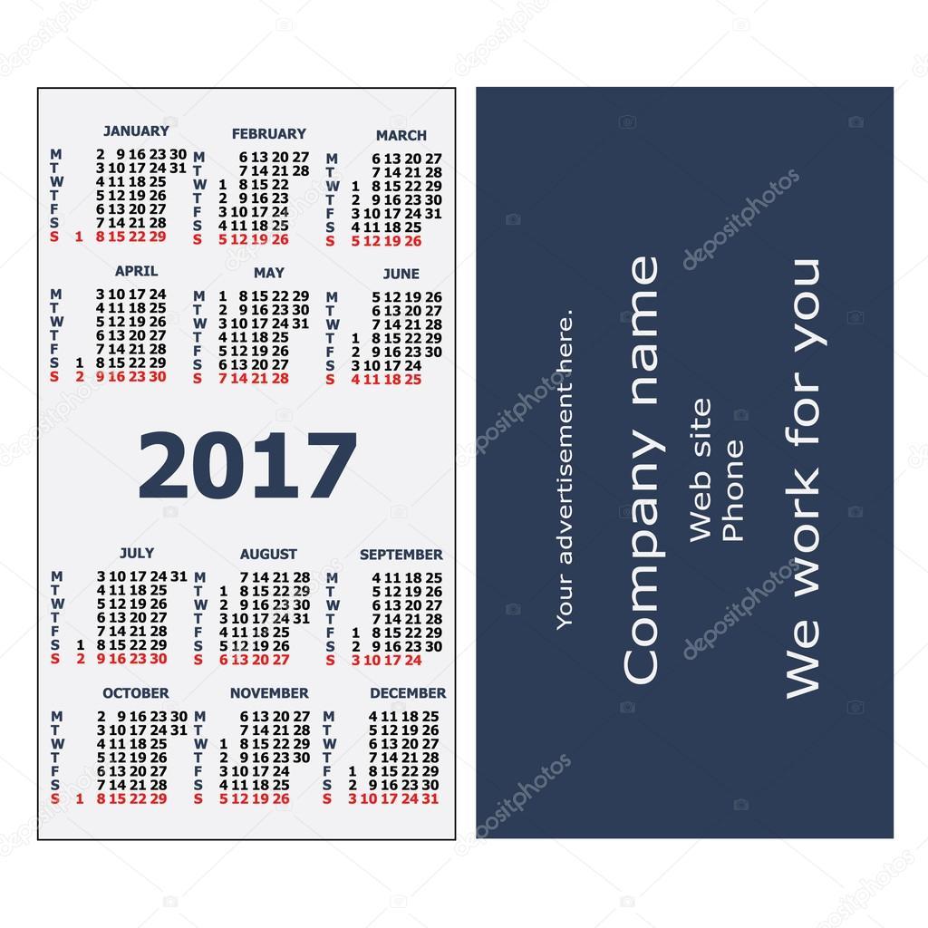 2017 pocket calendar.