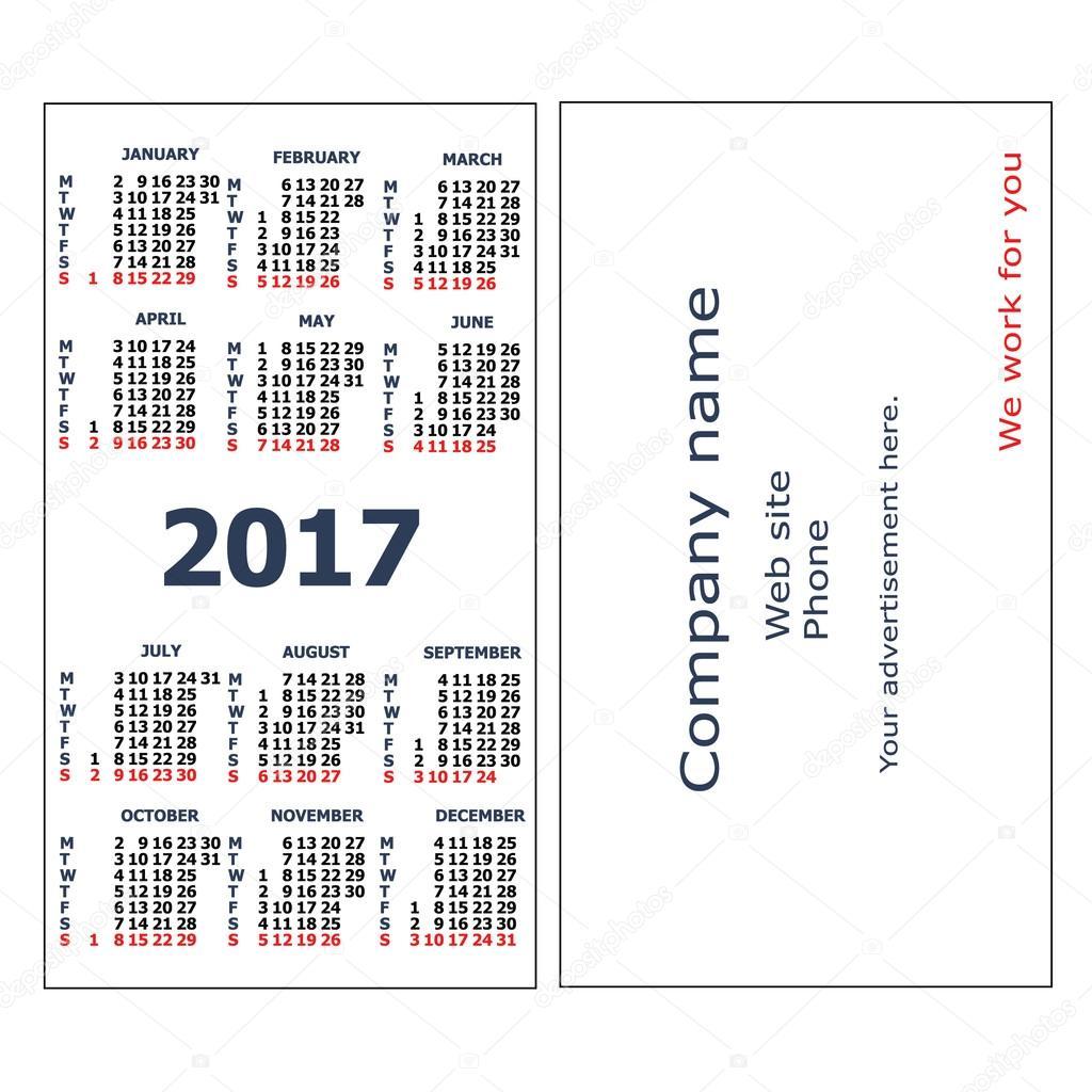 2017 Pocket Calendar Stock Vector Tanuna 106571004
