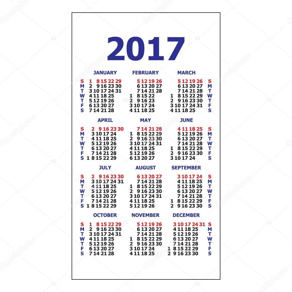 2017 Pocket Calendar Stock Vector Tanuna 106571012